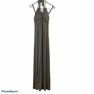 Tommy Bahama Olive Viscose Halter Maxi Dress M